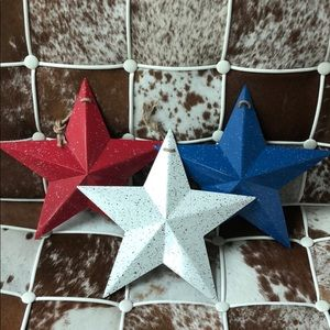 Other - Set of 3 Rustic farmhouse star metal decor 12 x 12